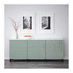 BESTÅ Mueble de salón con almacenaje - negro-marrón/Selsviken alto brillo/gris verde claro - IKEA
