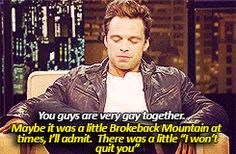 Chris and Seb in Brokeback Mountain... Ok that would be amazing!