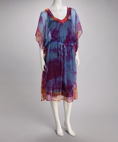 Take a look at this Blue Tie-Dye Chiffon Cover-Up by Ash & Sara on #zulily today!