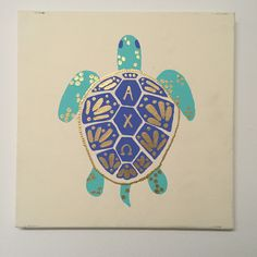 Alpha Chi Omega sorority turtle canvas! Super quick and easy painting to make…