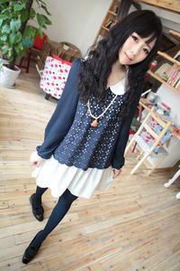 Navy Blue Cute Girlish Japanese Fashion Cutwork Dress with Round Retro Collar - $9.71