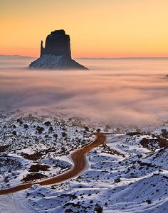 Sunrise in Monument Valley - Arizona by zaibatsu, via Flickr. Beautiful - I have only seen it in fall. No snow or mist.