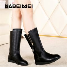 ==> [Free Shipping] Buy Best Plus size 35-41 solid black boots women mid calf boots 2017 superstar plush zipper high top winter boots ladies shoes Online with LOWEST Price | 32828140801