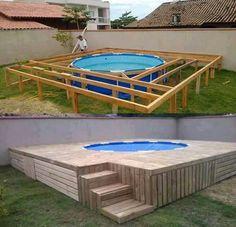 Love this idea for floating outdoor pool deck Piscina Diy, Piscina Pallet, Mini Piscina, Backyard Pool Designs, Backyard Projects, Outdoor Projects, Wood Projects, Backyard Ideas, Above Ground Pool Landscaping