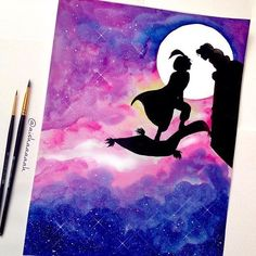 hey, i found this really awesome etsy listing - painting disney Disney Diy, Art Disney, Disney Kunst, Disney Crafts, Disney Couples, Disney Canvas Paintings, Disney Canvas Art, Watercolor Disney, Watercolor Art