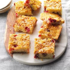 Cranberry Crunch Cake Recipe -New Jersey is known for its cranberries, and this cake is a delicious way to use them. The marshmallows melt and seep through the cake, making it moist and very tasty. It's great for brunch or just with a cup of coffee! —Adelaide Krumm, Manasquan, New Jersey