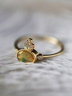 14K Gold 5 Diamond Opal Ring from Free People!