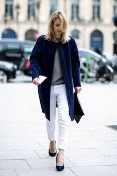 fashion weeks, blue, pari, white pants, street styles, jean grey, white jeans, coat, haute couture