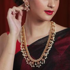 Buy Aishi Long Necklace Set | Indian Long Necklace Sets Online - Tarinika