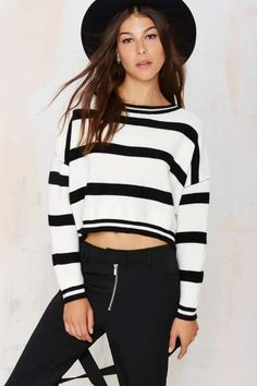 On Another Level Striped Sweater - Clothes