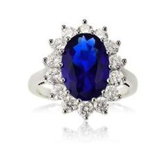 Sterling Silver Oval Blue Sapphire and CZ Princess Diana/Kate Middleton Ring (Size Available in sizes 6 through 9 Kate Middleton Ring, Kate Middleton Engagement Ring, Royal Engagement Rings, Colored Engagement Rings, Wedding Engagement, The Sapphires, Princess Diana Ring, Bridal Rings, Wedding Rings