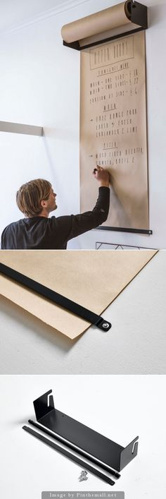 there's nothing better than good ol' paper and pen. Whether to make lists, sketch, or to leave a message, having easy access to paper is essential for when the mood hits. George & Willy designed Studio Roller, a wall-mounted, kraft paper roll dispenser that easily lets you pull out a section of paper when you need it. - created via http://pinthemall.net