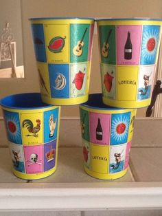 Mexican Bingo Loteria 4 Plastic Cups Birthday Party Decorations Favors Gifts #Hallmark (Hallmark? Really?) Cool!