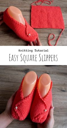 Knit Rectangle Slippers - Craft With Yarn Knit Slippers Free Pattern, Knit Headband Pattern, Knitted Slippers, Knitted Headband, Knit Socks, Beginning Knitting Projects, Beginning Crochet, Easy Knitting Projects, How To Make Slippers