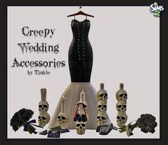 Creepy Wedding Includes 11 New Meshes: - 5 Creepy Skull Candles - 1 Creepy Skull Candle Centerpiece - 1 Wedding Accessories Deco (Shoes with Tiara) - 2 Wedding Bouquet Deco - 1 Wedding Gown Deco - 1 Wedding Invitation - Collection File * Basegame...