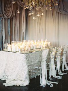Sea-inspired wedding inspiration #tabletop #elegant #candles #centerpiece
