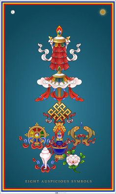 Eight Auspicious Symbols by Fred Van der Zee - Eight Auspicious Symbols Painting - Eight Auspicious Symbols Fine Art Prints and Posters for Sale