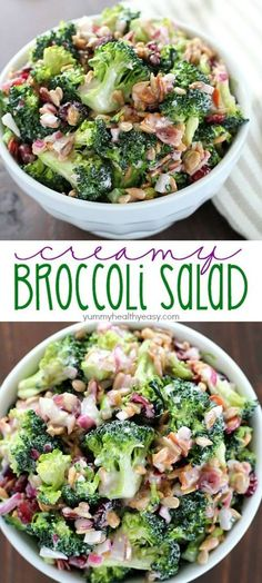 Creamy Broccoli Salad Recipe Need an easy side dish? Make this Creamy Broccoli Salad! It's full of fresh broccoli, red onion, dried cranberries, sunflower seeds and bacon mixed in a creamy, delicious dressing. Always a hit! New Recipes, Dinner Recipes, Cooking Recipes, Healthy Recipes, Pasta Recipes, Vegetarian Recipes, Recipies, Macaroni Recipes, Broccoli Recipes