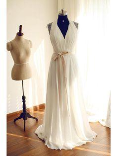 A-line Wedding Dress Sweep / Brush Train Halter Chiffon / Lace with Beading / Lace / Sash / Ribbon - USD $99.99