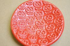 Owl  Spoon Rest Soap Dish in Bright red gloss glaze