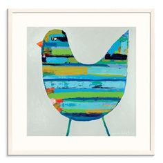 Ebern Designs 'Simon' Acrylic Painting Print Format: White Framed, Size: H x W x D Canvas Art Prints, Painting Prints, Paintings, Framed Wall Art, Framed Prints, New Wall, White Art, Bird Art, Canvas Material