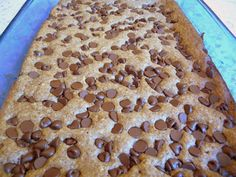 SOUR CREAM CHOCOLATE CHIP BARS - using my low-carb, gluten-free bake mix and gelatin added to the wet ingredients.  It's working great this gelatin idea to keep low-carb, gluten-free baked goodies from being crumbly and fragile.  I believe my bake mix is healthy too.