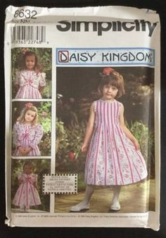 Uncut-8632-Simplicity-Daisy-Kingdom-Girls-Dress-Jacket-Sewing-Pattern-8-10-12-14