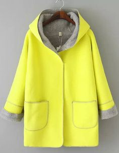 Yellow Long Sleeve Hooded Pockets Plaid Outerwear 16.00