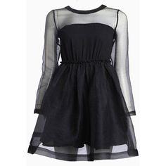 Choies Black Semi-sheer Long Sleeve Skater Dress ($31) ❤ liked on Polyvore featuring dresses, black, kohl dresses, black longsleeve dress, black day dress, skater dress and longsleeve dress