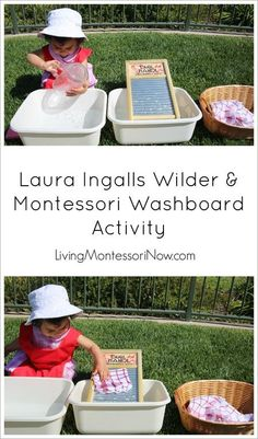 Montessori washboard activity inspired by Laura Ingalls Wilder and part of the Montessori Services review and Booking Across the USA author/illustrator tour! Post includes the Montessori Monday permanent collection.