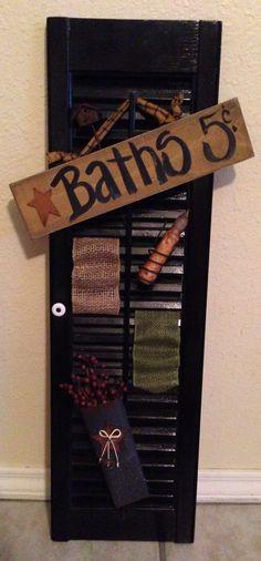 Primitive Bathroom Decor:  started as an old shutter
