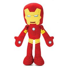 """He speaks! This 24"""" H Iron Man plush speaks five classic quotes at the push of a button. Non-replaceable batteries included. Ages 3 and up. Polyester. Imported.©2015 Marvel"""