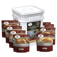 Ultimate 7 Day Emergency Kit Bucket-3 Hearty Meals Per Day for One Person for 7 Days. More than 2,000 calories per day and 100 grams of protein per day. 58 total servings. Real meat high in Protein.