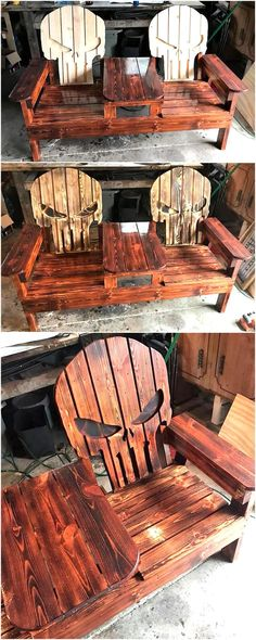 Repurposed wooden pallet DIY ideas - All About Skull Furniture, Pallet Patio Furniture, Pallet Chair, Diy Chair, Diy Furniture, Recycled Wood Furniture, Furniture Websites, Furniture Outlet, Discount Furniture