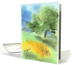 Watercolor Greeting Card Ideas | ... Watercolor Landscape with Poetry and Scripture Christian Greeting Card