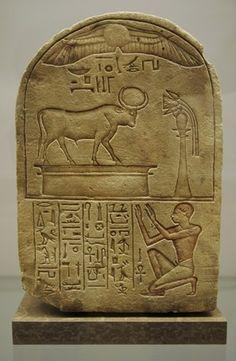 Stele dedicated to bull Mnevis by laundryman Ipi. Egypt.