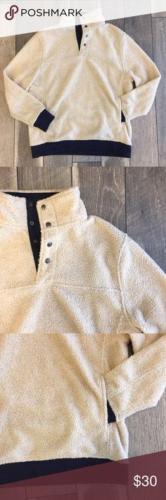 Shearling Pullover In great condition! Worn only a couple times. Has pockets and navy details. Size men's medium, also fits women's large. Jachs Sweaters