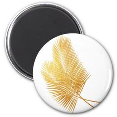 Gold palm leaf tropical badge magnet - gold gifts golden diy custom