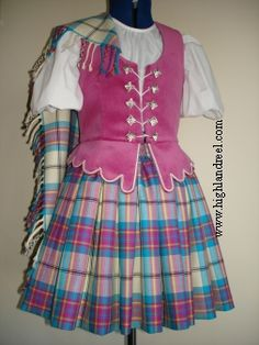 Aboyne with pink vest Stewart Tartan, Dance Outfits, Highlands, Dancing, Vest, Summer Dresses, Pink, Fashion, Moda
