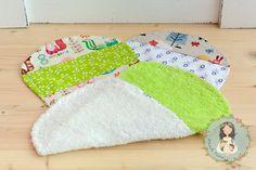 Unique set of two burp clothes  patchwork burp by MainileMamei