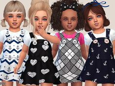 The Sims 4 Cute Toddler Dresses Collection Toddler Cc Sims 4, Sims 4 Toddler Clothes, Sims 4 Cc Kids Clothing, Sims 4 Mods Clothes, Toddler Dress, Toddler Outfits, Kids Outfits, Toddler Fashion, Toddler Games