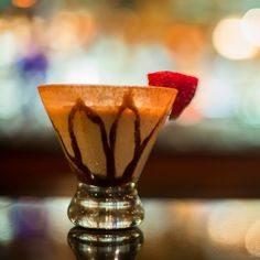 Chocolate martini with chocolate drizzle and a cocoa rim, superb!