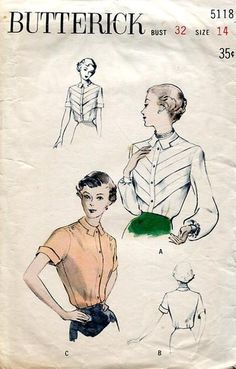 Sewing Patterns,Vintage,Out of Print,Retro,Vogue Simplicity McCall's,Over 7000 - Butterick 6118 Retro 1950's Blouse Tab Collar
