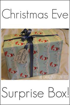 """Christmas Eve Surprise Box-- we'll probably do a Solstice Surprise, because alliteration is awesome, and because we'll already be doing """"Christmas"""" things with extended family. I'm thinking a new pair of pjs for everyone, ingredients to make a treat, music or movie, etc."""
