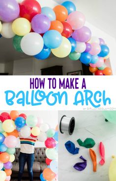 Balloon Arch Diy Discover How to Make a Balloon Arch - Girl Loves Glam A balloon arch can make a huge impact on the decor for parties and are incredibly easy to make! Learn how to make a balloon arch for your upcoming event. Balloon Arch Diy, Ballon Arch, Balloon Columns, Balloon Wall, Balloon Garland, Balloon Decorations, String Balloons, Blowing Up Balloons, Rainbow Balloons
