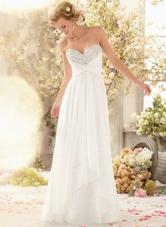 Wedding Dresses - $160.23 - Empire Strapless Sweetheart Sweep Train Chiffon Wedding Dress With Ruffle Beading (00205003265)