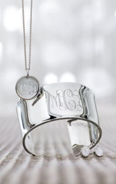 Cute monogrammed Sterling Silver Jewelry.