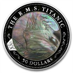 The mother of pearl gives it the feel of a Ghost Ship - Too Cool - 2012 $50 Fiji Titanic 5OZ Silver Proof Coin Mother of Pearl 100TH Anniversary