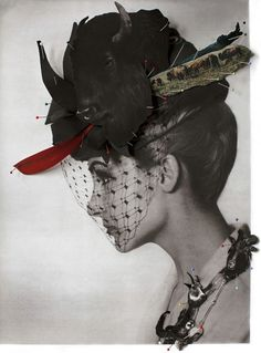 Helsinki School gallery reveals this series of collages made by artist Ulla Jokisalo and composed by black and white retro portraits of women with animal heads put on their faces with pins, and giving the illusion of curious hybrid creatures.