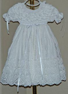 Blanco bautizo vestido con el Slip de algodón por CherryHillCrochet